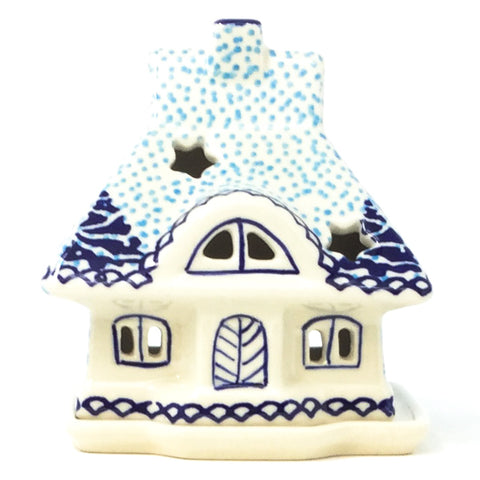 Polish Pottery House Tea Candle in Winter Moose Pattern