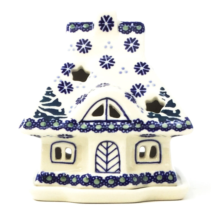 Polish Pottery House Tea Candle Holder in Christmas Trees Christmas Trees