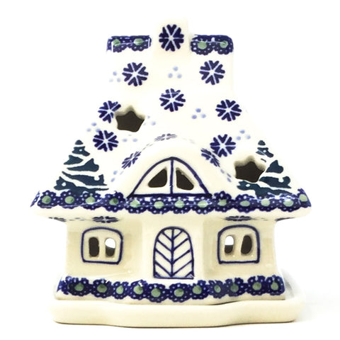 Polish Pottery House Tea Candle in Christmas Trees Pattern