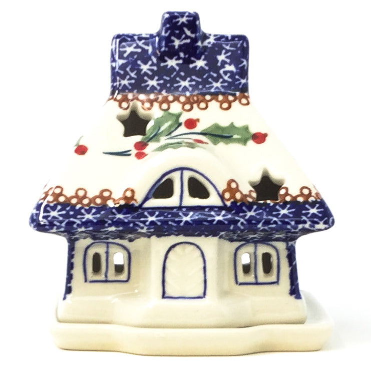 Polish Pottery House Tea Candle Holder in Holly Pattern in Holly Holly