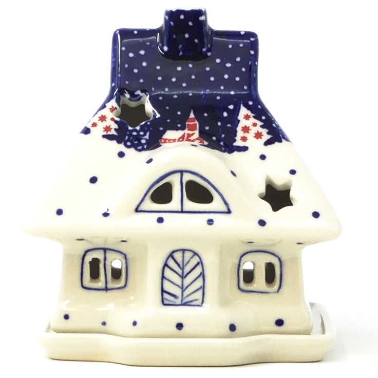 Polish Pottery House Tea Candle Holder in Winter Village Winter Village