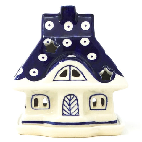 Polish Pottery House Tea Candle Holder in Classic Holly Classic Holly