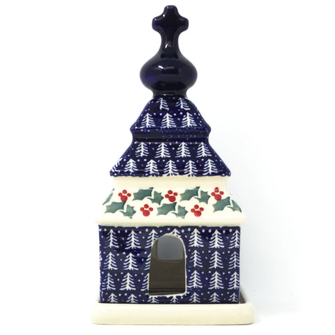 Polish Pottery Church Tea Candle Holder in Winter Holly Winter Ivy