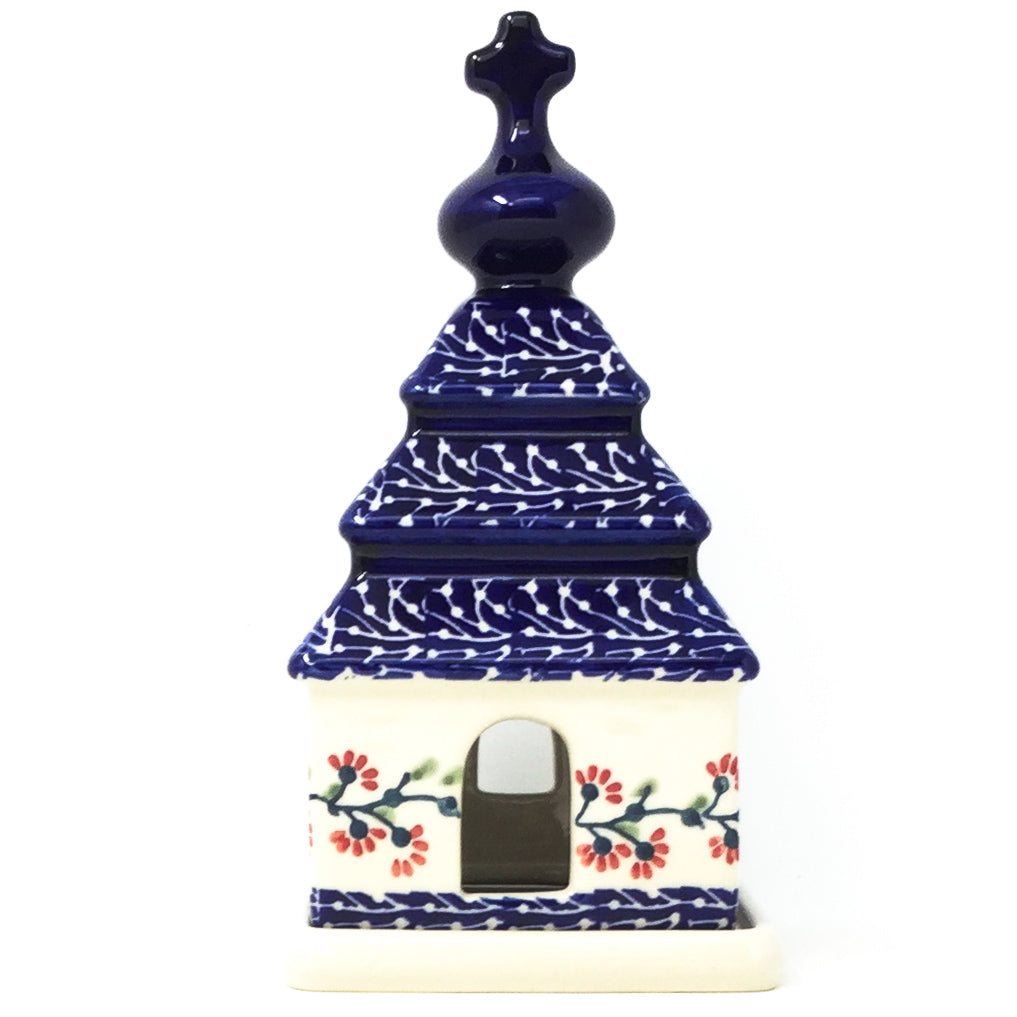 Polish Pottery Church Tea Candle Holder in Red Cherry Red Cherry