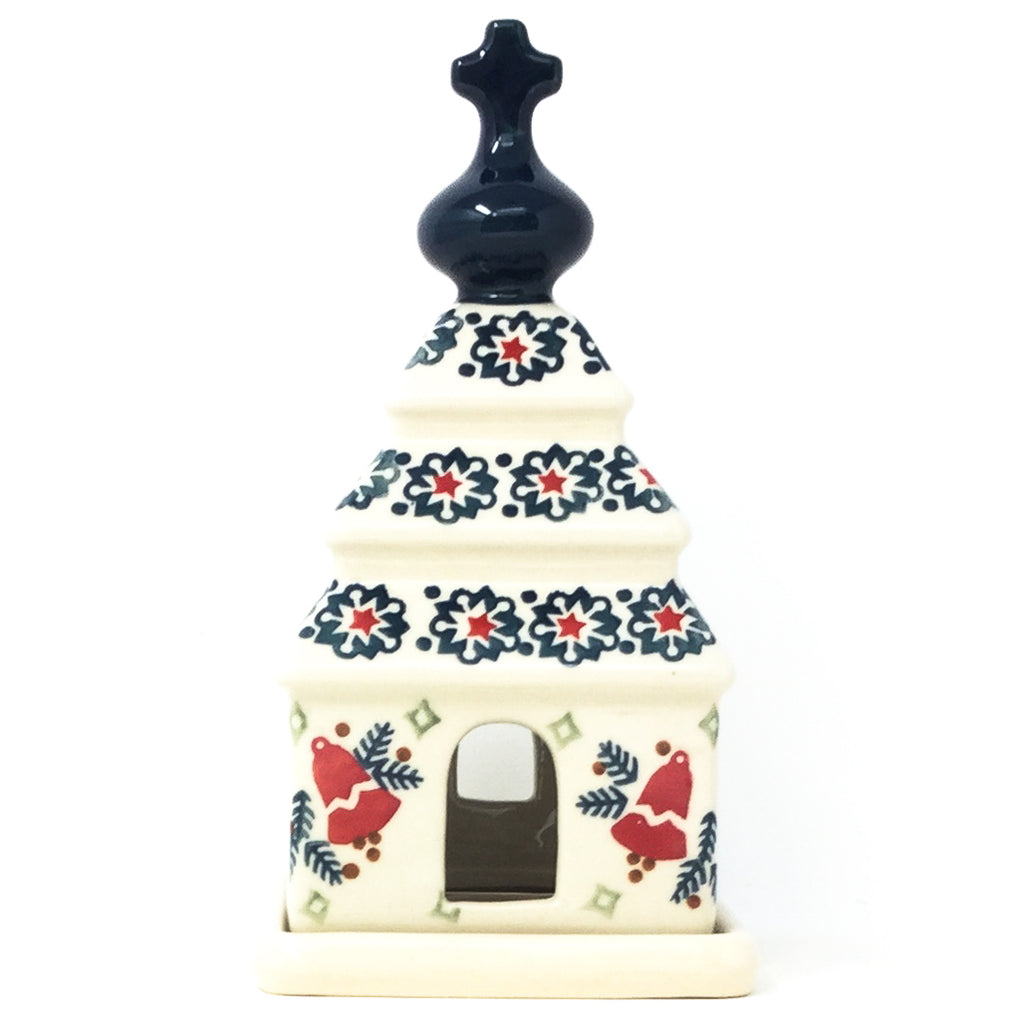 Polish Pottery Church Tea Candle Holder in Christmas Bells Christmas Bells
