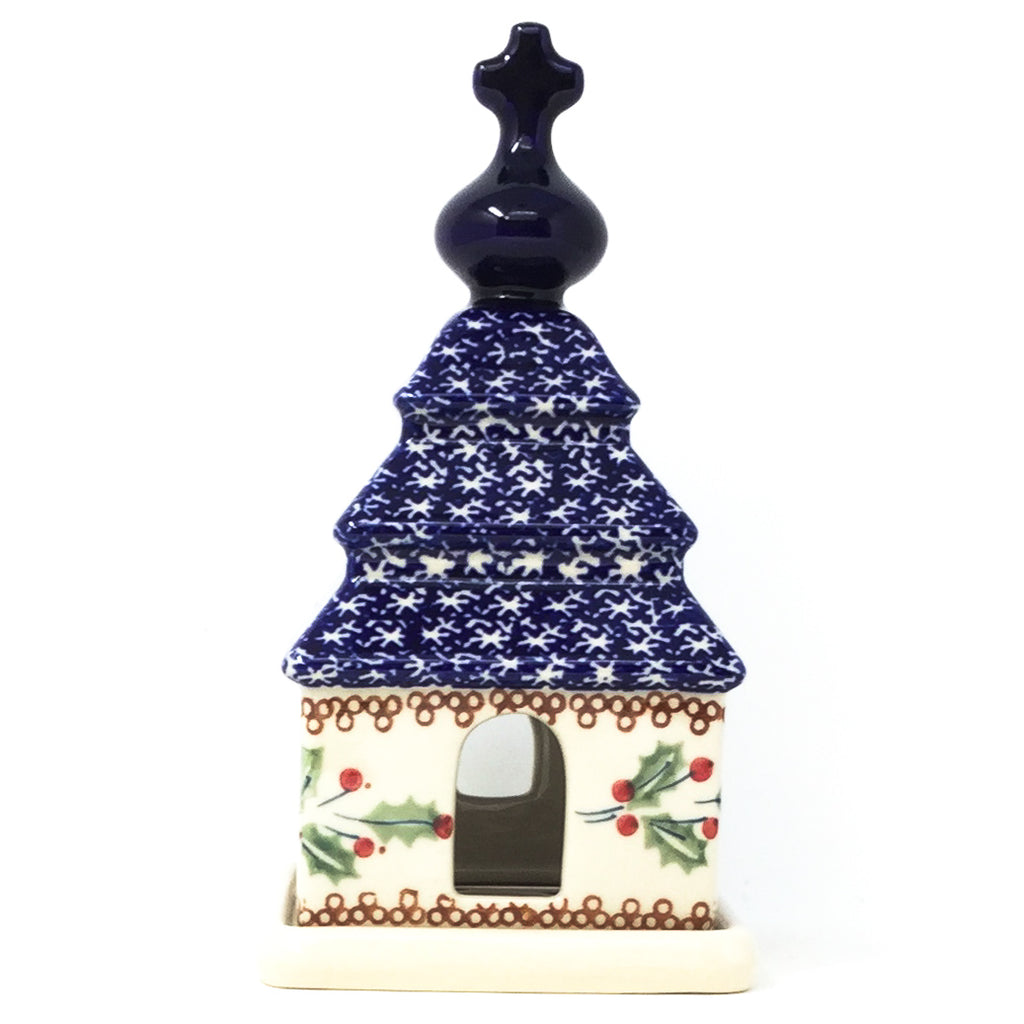 Polish Pottery Church Tea Candle Holder in Holly Holly