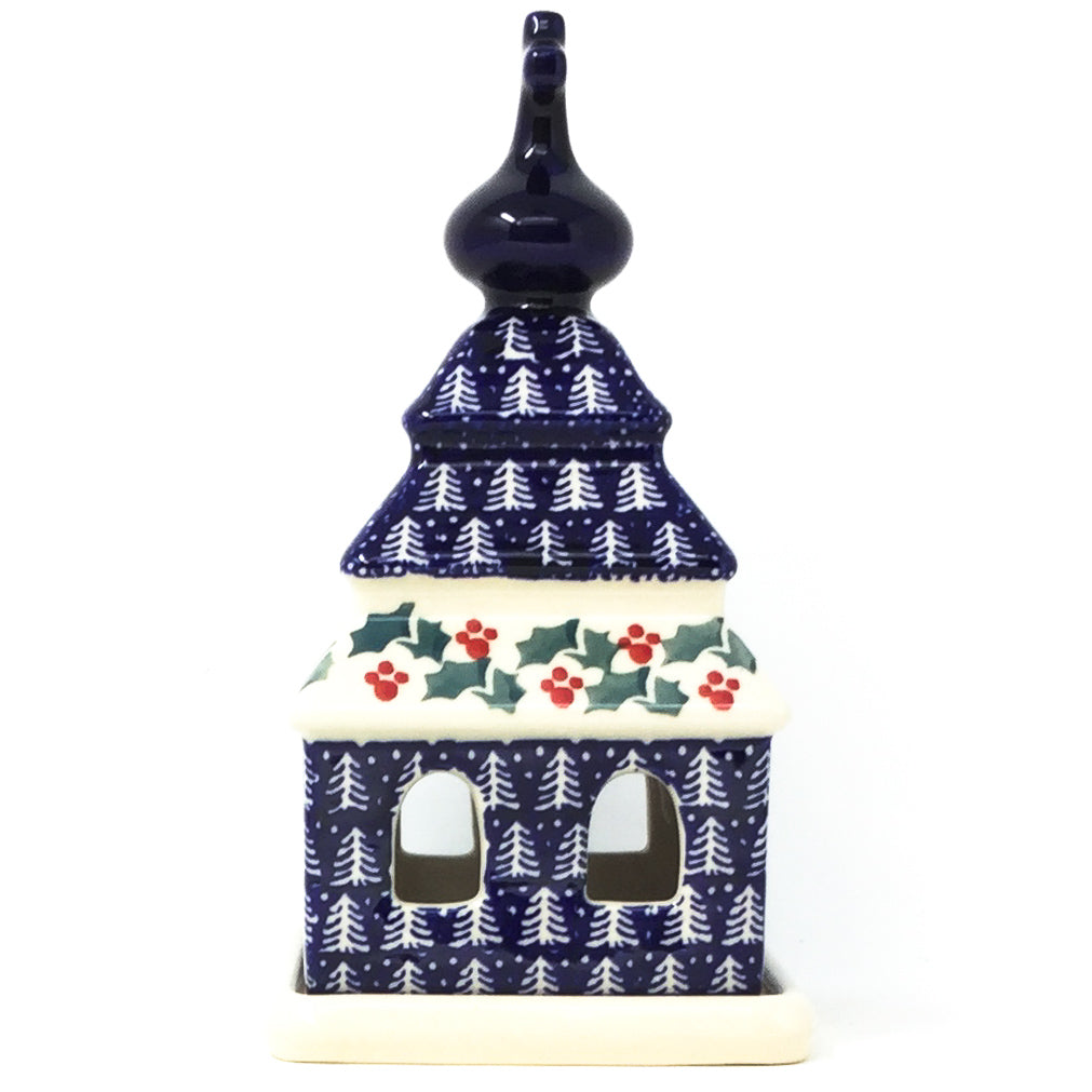 Church Tea Candle Holder in Winter Holly