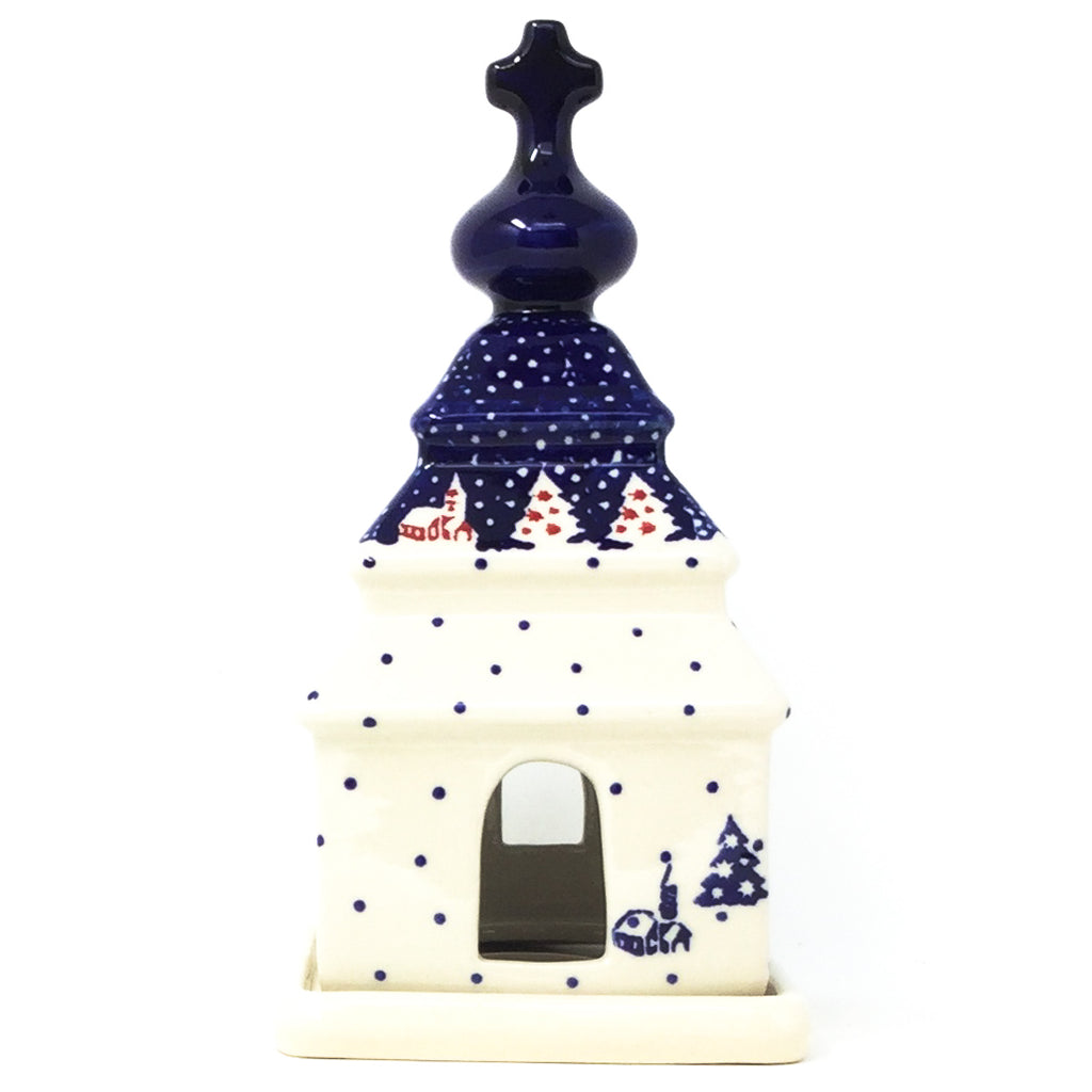 Polish Pottery Church Tea Candle Holder in Winter Village Winter Village
