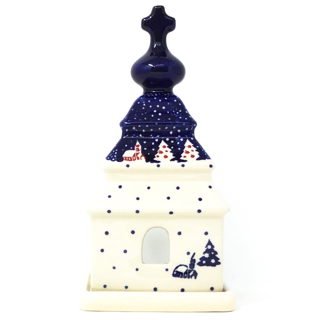 Church Tea Candle Holder in Winter Village