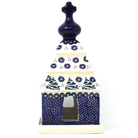 Polish Pottery Church Tea Candle Holder in Christmas Trees Christmas Trees
