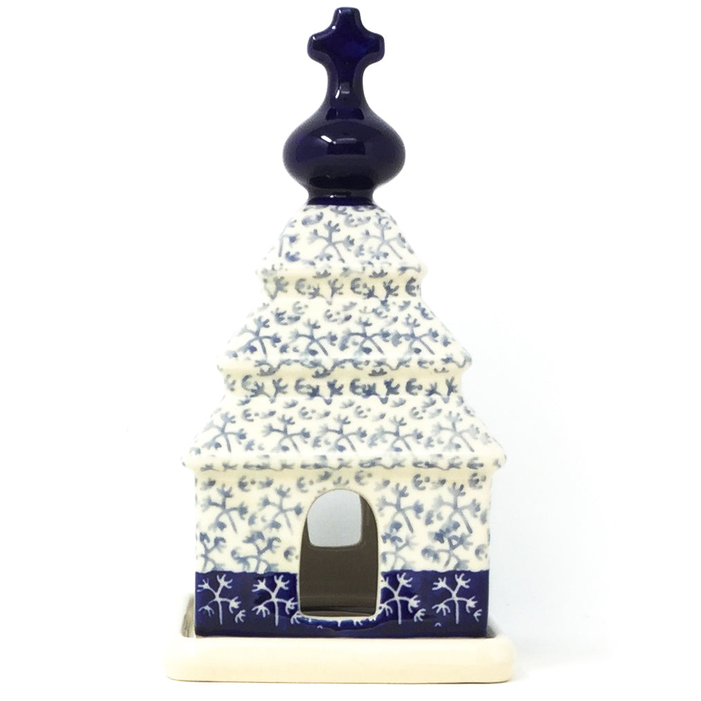 Polish Pottery Church Tea Candle Holder in Light & Dark Snowflake Light & Dark Snowflake