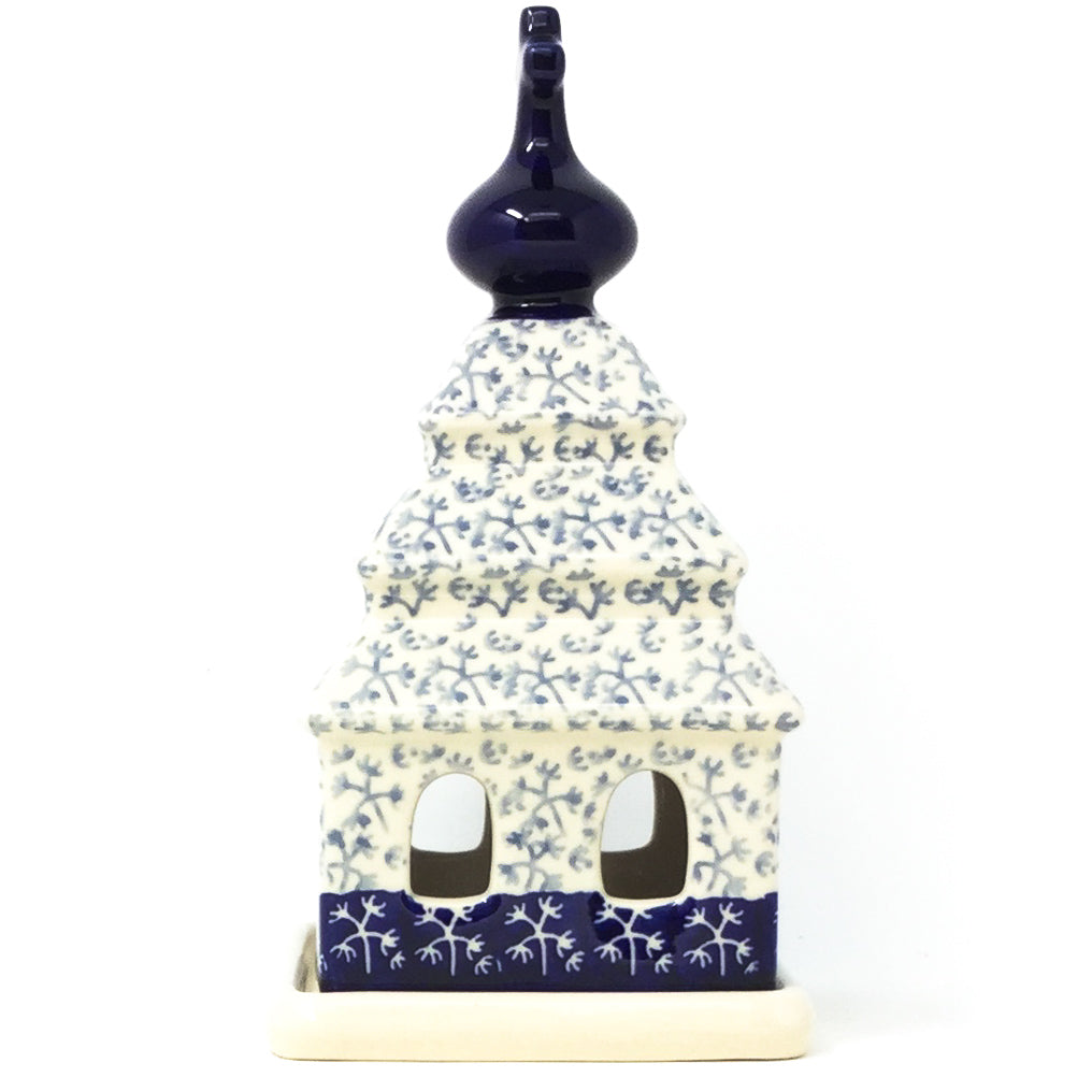 Church Tea Candle Holder in Light & Dark Snowflake