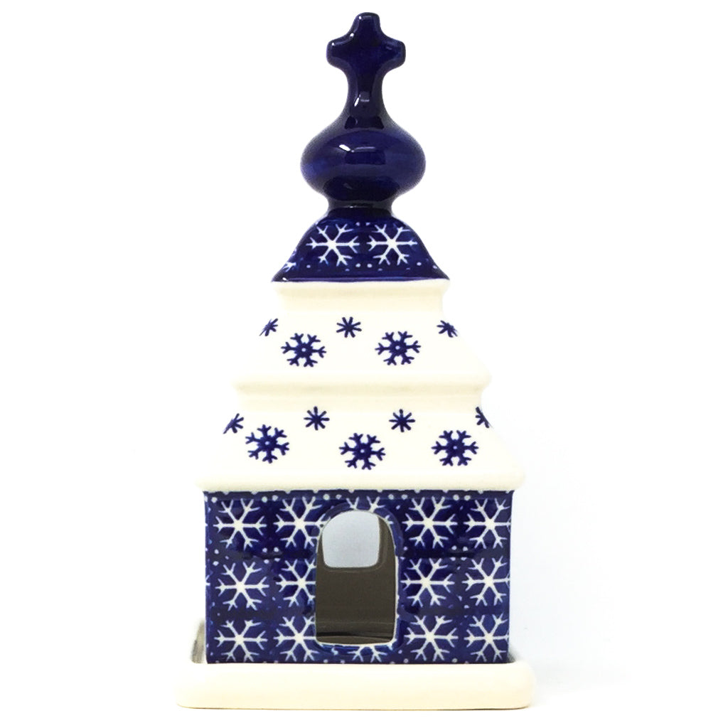 Polish Pottery Church Tea Candle Holder in Snowflake Snowflake