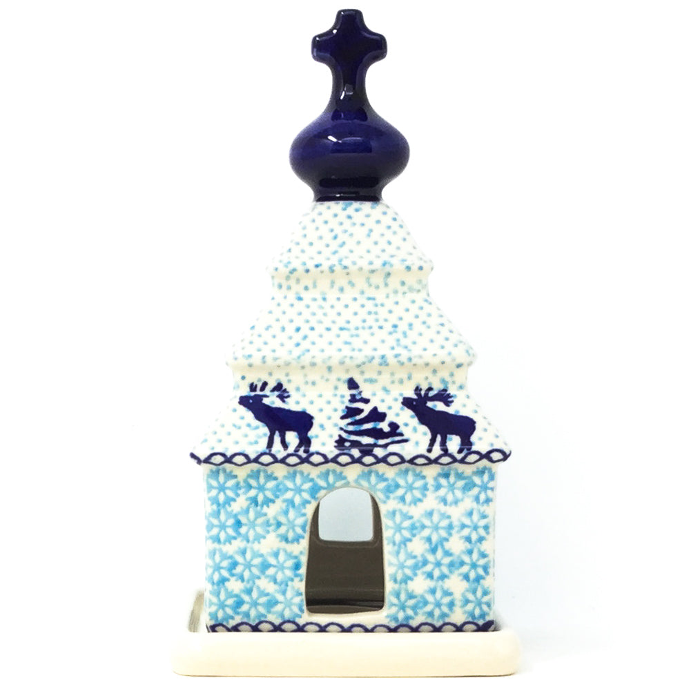 Polish Pottery Church Tea Candle Holder in Winter Moose Winter Moose