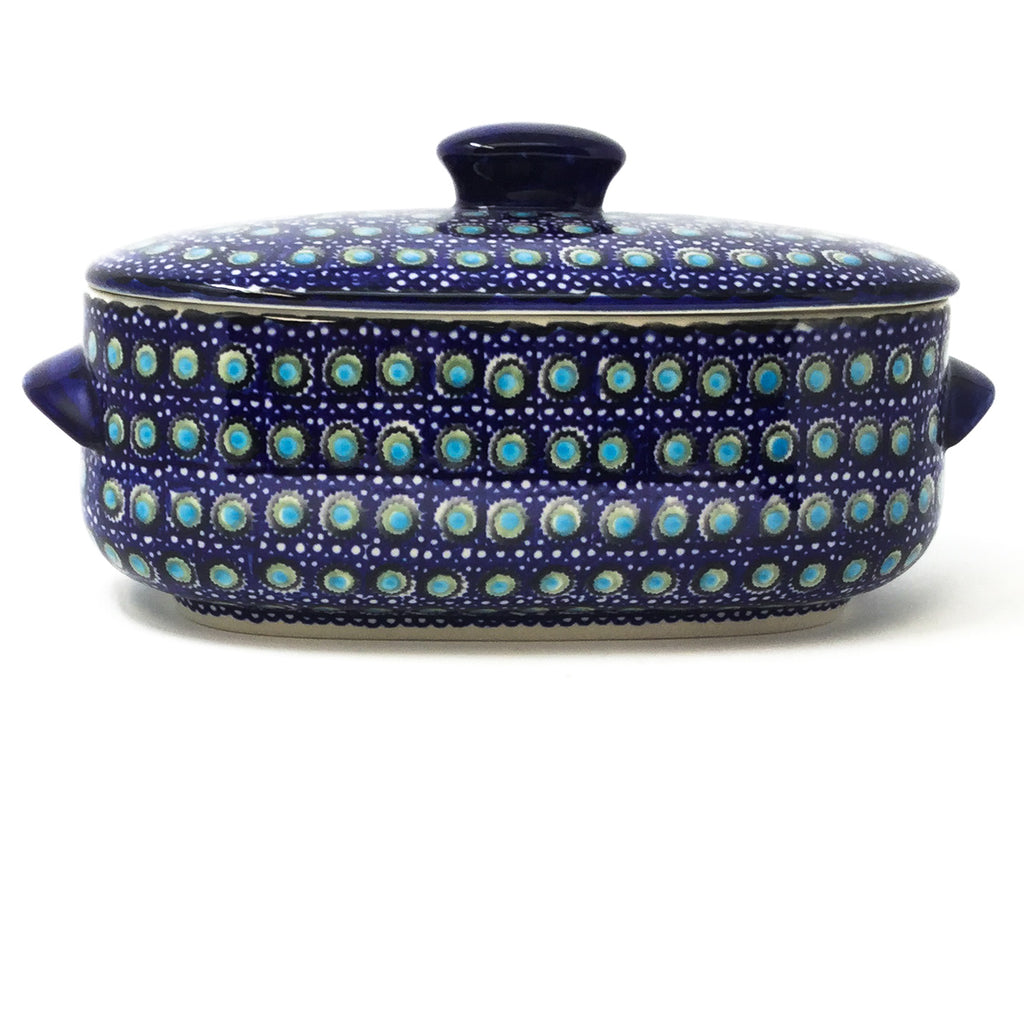 Polish Pottery Sm Covered Oval Baker 2qt in Blue Moon Blue Moon