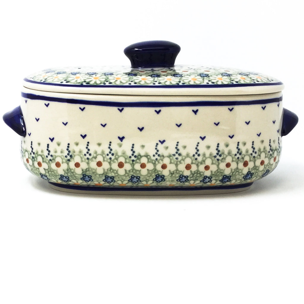 Polish Pottery Sm Covered Oval Baker 2qt in Spring Spring
