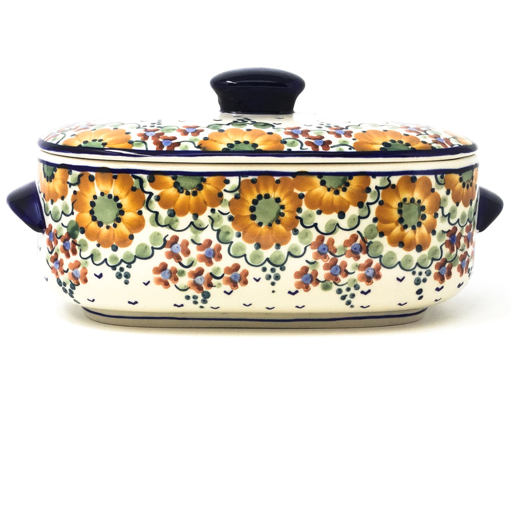 Polish Pottery Sm Covered Oval Baker 2qt in Fall Fall