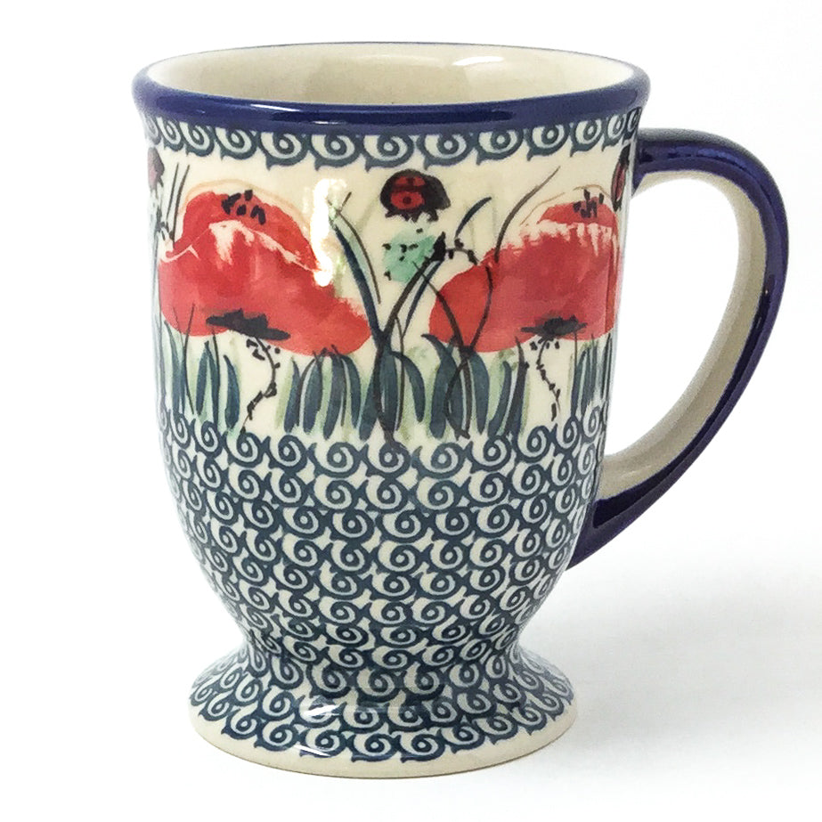 Polish Pottery Pedestal Cup 16 oz in Polish Poppy Polish Poppy