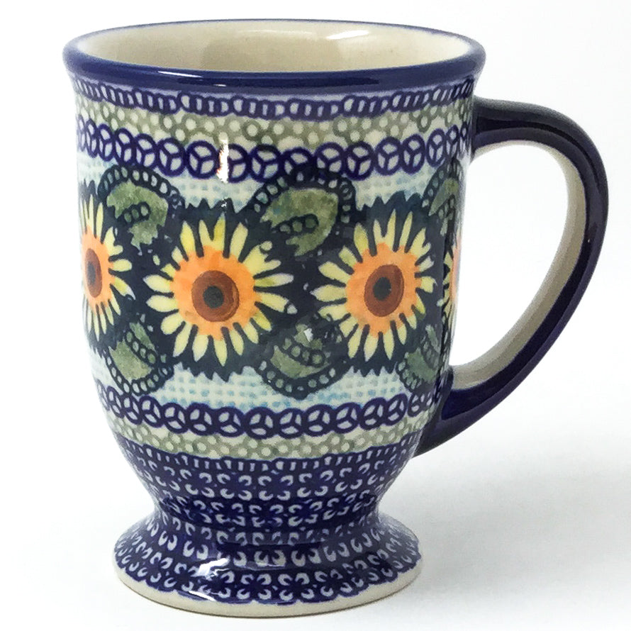 Polish Pottery Pedestal Cup 16 oz in Sunflowers Sunflowers