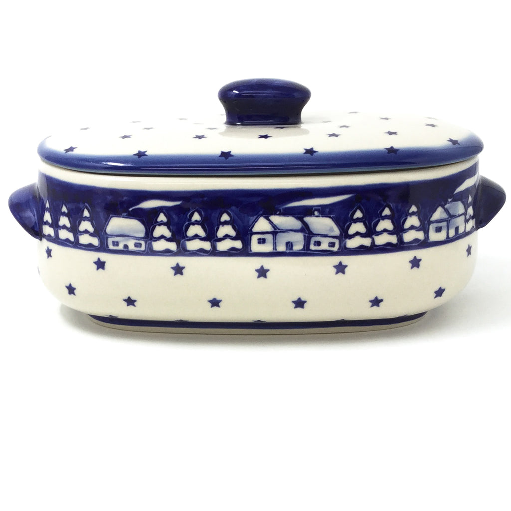 Polish Pottery Sm Covered Oval Baker 2qt in Winter Winter