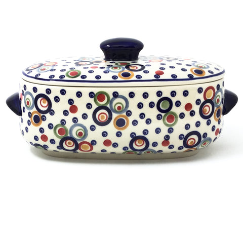 Polish Pottery Sm Covered Oval Baker 2qt in Modern Circles Modern Circles