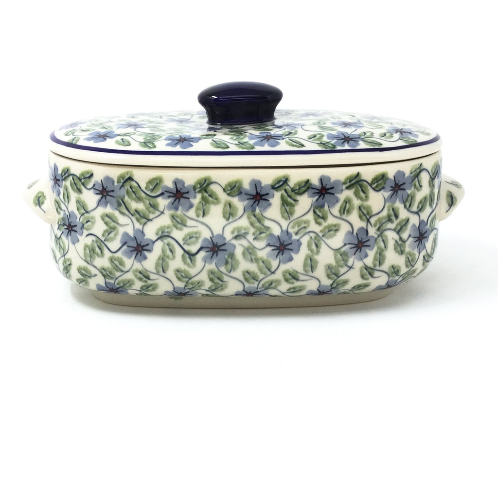 Polish Pottery Sm Covered Oval Baker 2qt in Blue Clematis Blue Clematis
