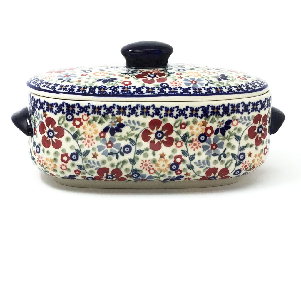 Polish Pottery Sm Covered Oval Baker 2qt in Summer Arrangement Summer Arrangement