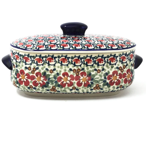 Polish Pottery Sm Covered Oval Baker 2qt in Red Poppies Red Poppies