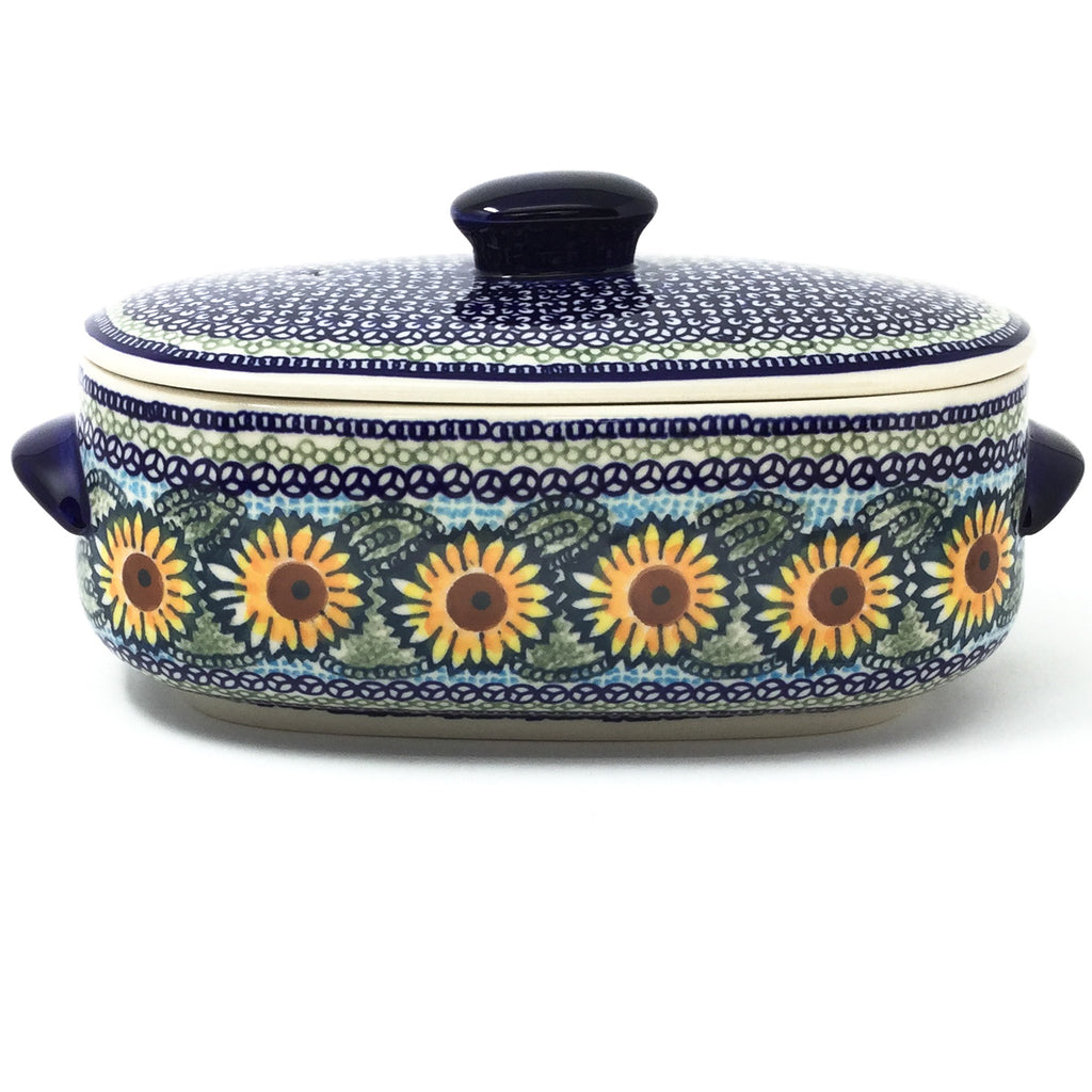 Polish Pottery Sm Covered Oval Baker 2qt in Sunflowers Sunflowers
