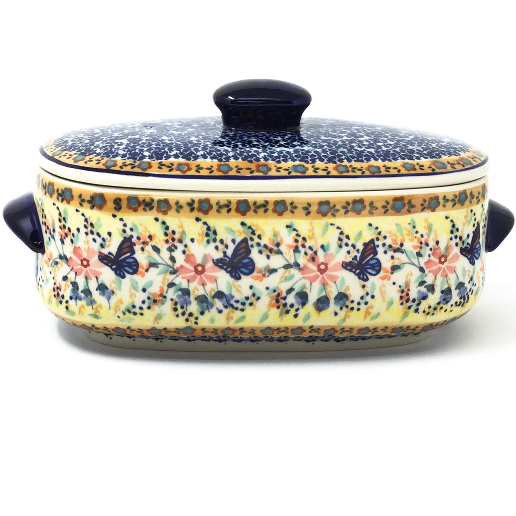 Polish Pottery Sm Covered Oval Baker 2qt in Butterfly Meadow Butterfly Meadow