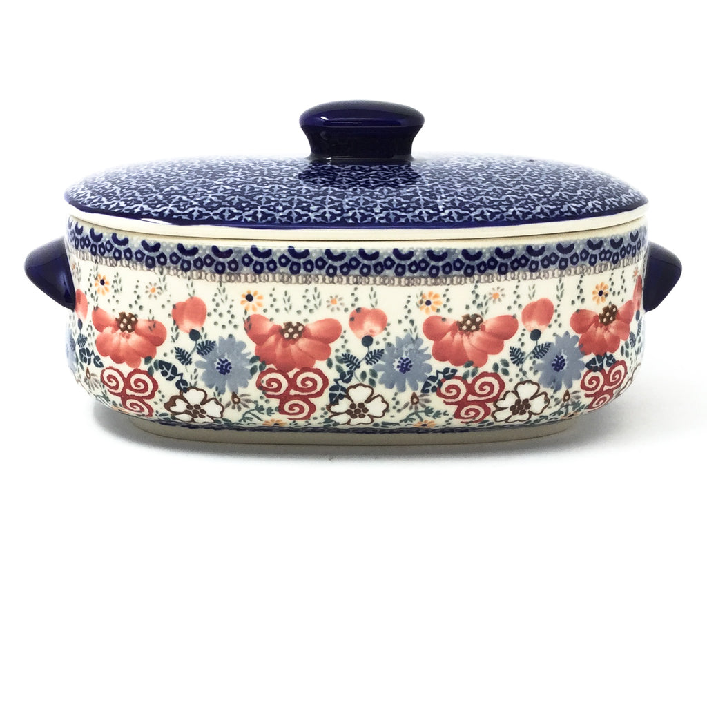 Polish Pottery Sm Covered Oval Baker 2qt in Perennial Garden Perennial Garden