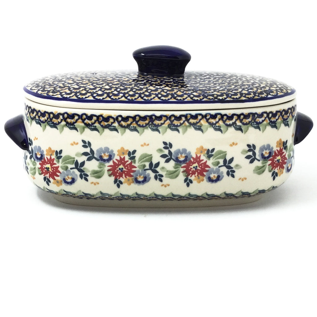 Polish Pottery Sm Covered Oval Baker 2qt in Late Spring Late Spring