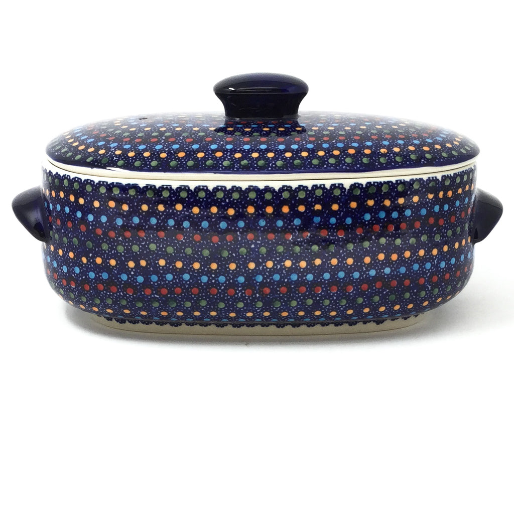 Polish Pottery Sm Covered Oval Baker 2qt in Multi-Colored Dots Multi-Colored Dots