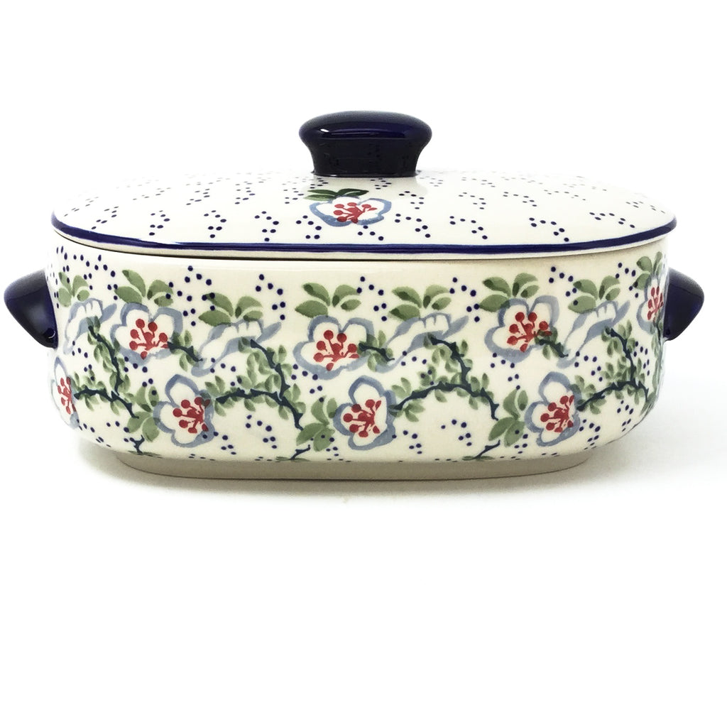 Polish Pottery Sm Covered Oval Baker 2qt in Japanese Garden Japanese Garden
