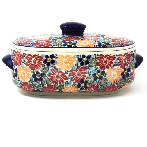 Polish Pottery Sm Covered Oval Baker 2qt in Just Glorious Just Glorious