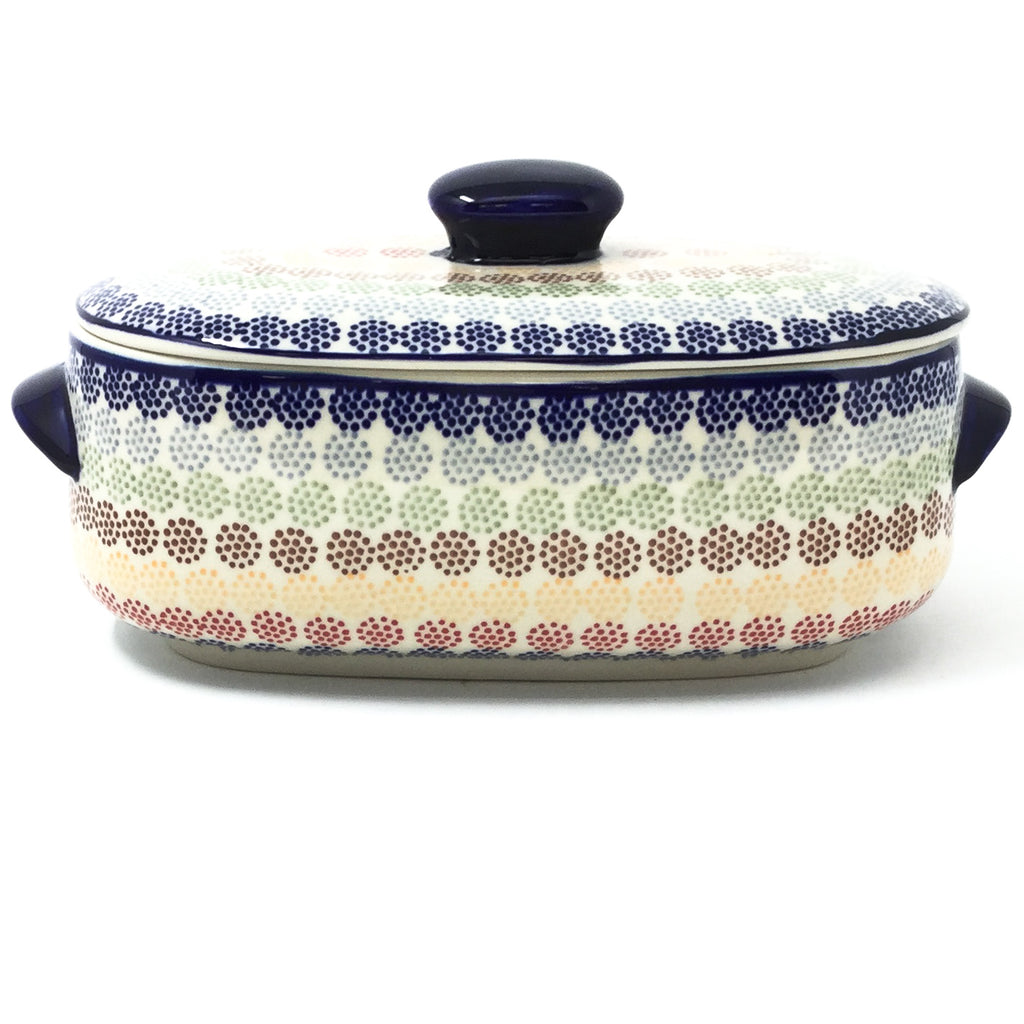 Polish Pottery Sm Covered Oval Baker 2qt in Modern Dots Modern Dots