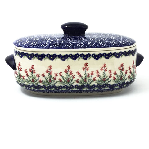 Polish Pottery Sm Covered Oval Baker 2qt in Field of Flowers Field of Flowers