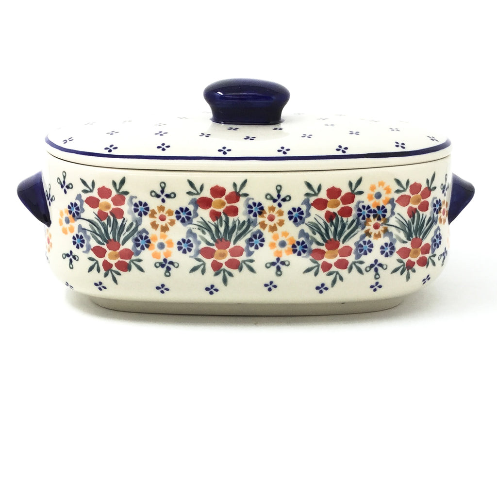 Polish Pottery Sm Covered Oval Baker 2qt in Delicate Flowers Delicate Flowers