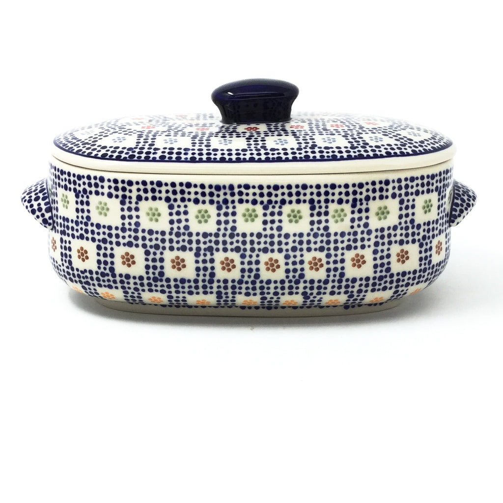 Polish Pottery Sm Covered Oval Baker 2qt in Modern Checkers Modern Checkers