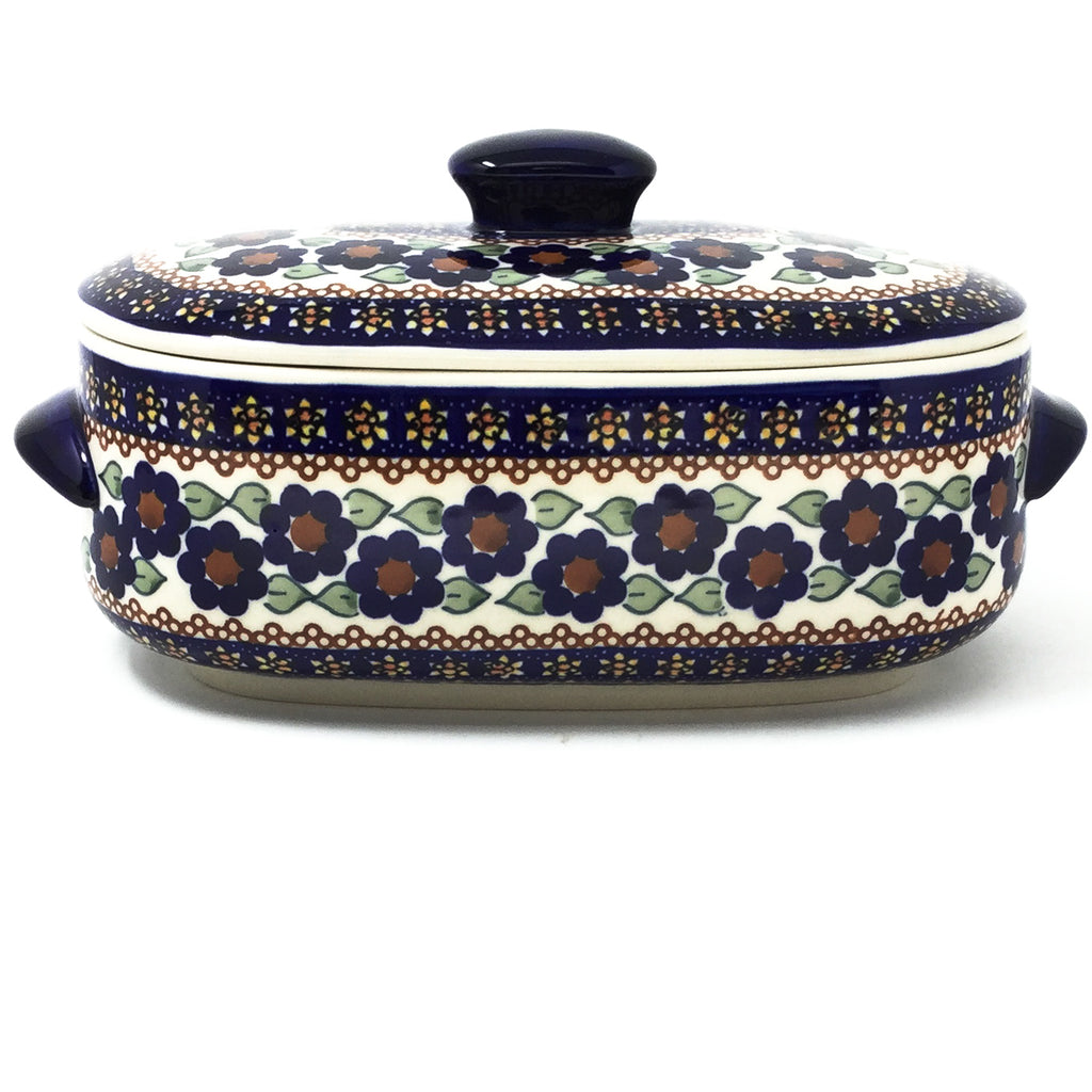 Polish Pottery Sm Covered Oval Baker 2qt in Petunia Petunia