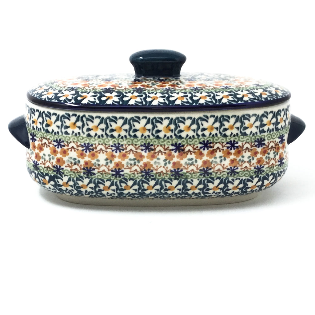 Polish Pottery Sm Covered Oval Baker 2qt in White Daisy White Daisy