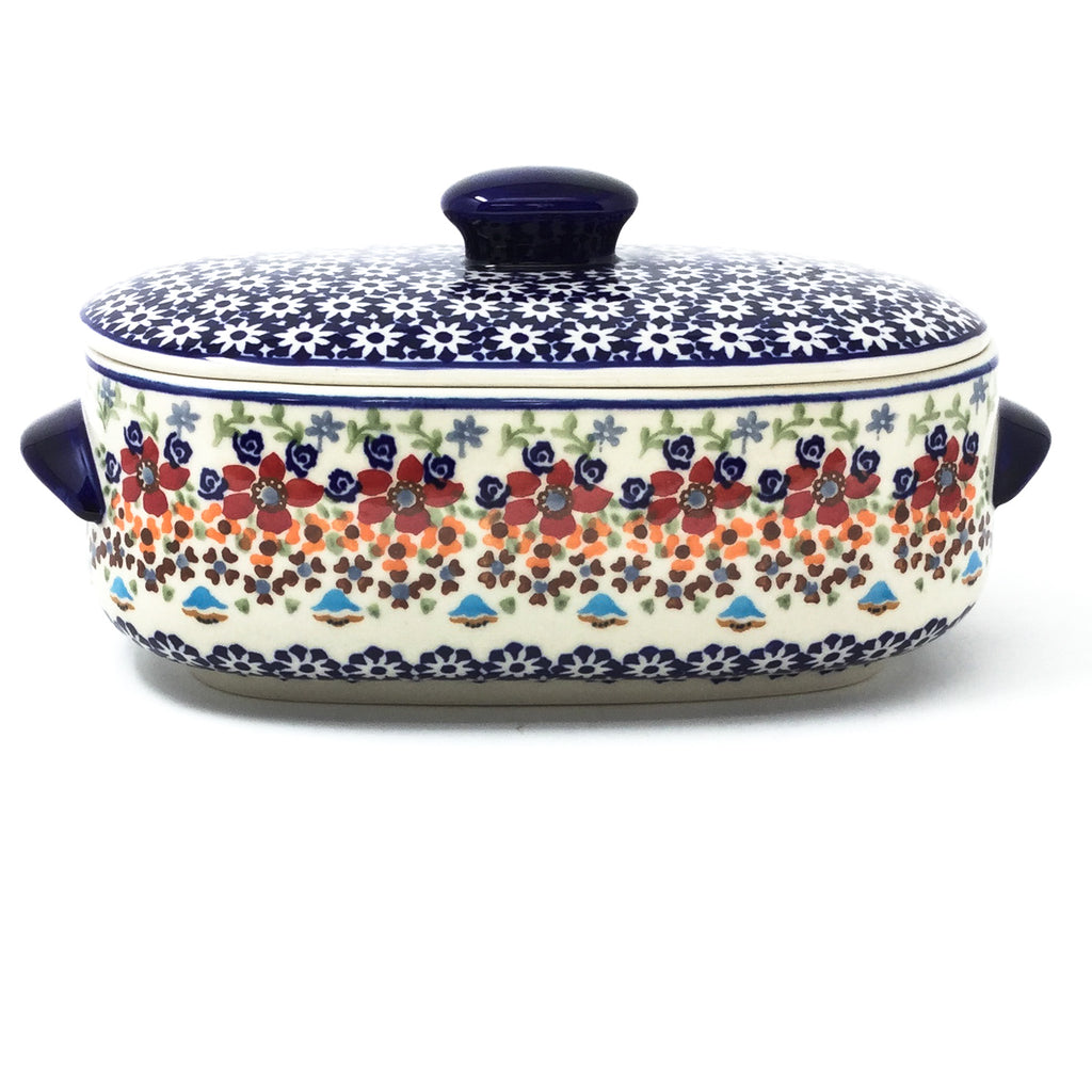 Polish Pottery Sm Covered Oval Baker 2qt in Summer Summer