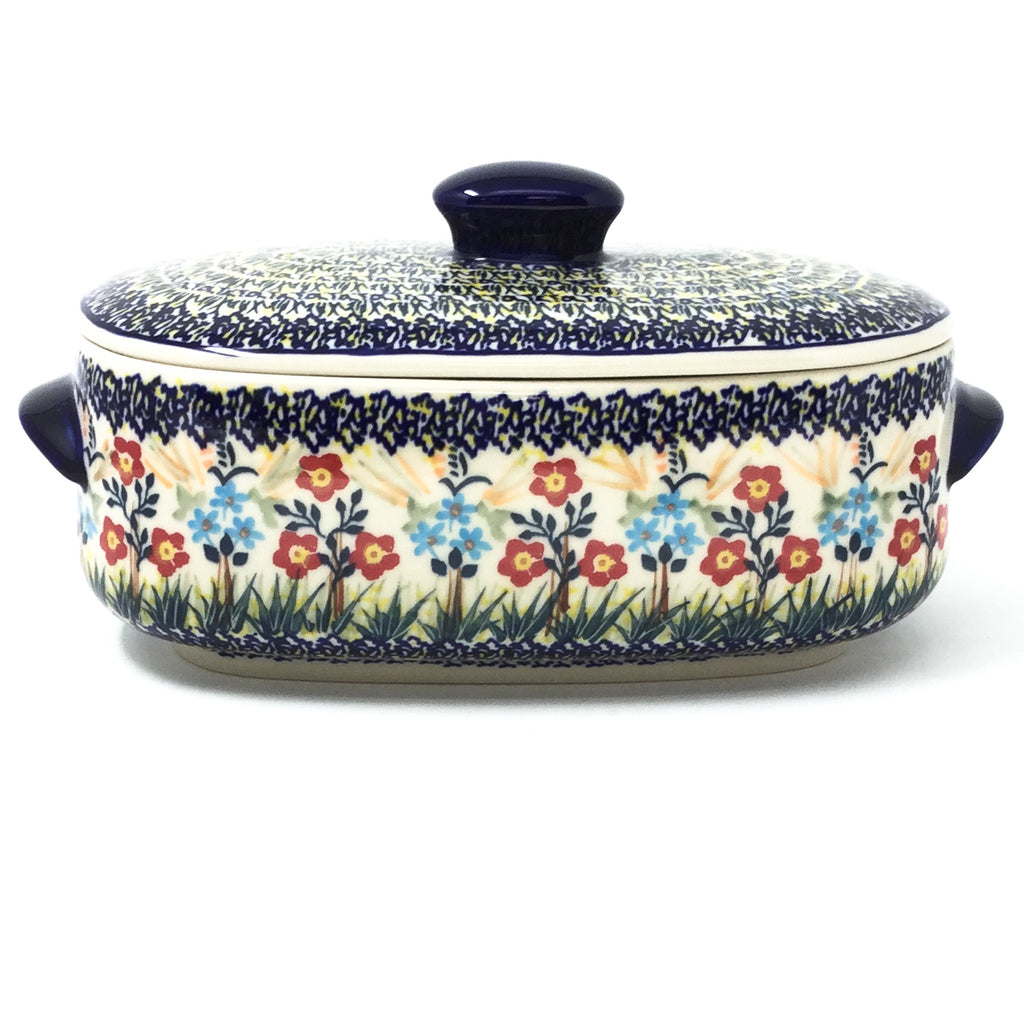Polish Pottery Sm Covered Oval Baker 2qt in Autumn Bouquet Autumn Bouquet