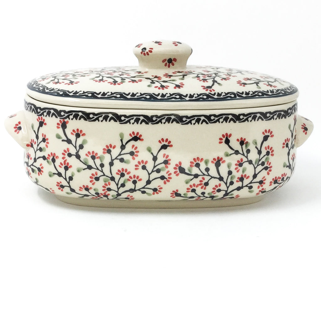 Polish Pottery Sm Covered Oval Baker 2qt in Japanese Cherry Japanese Cherry