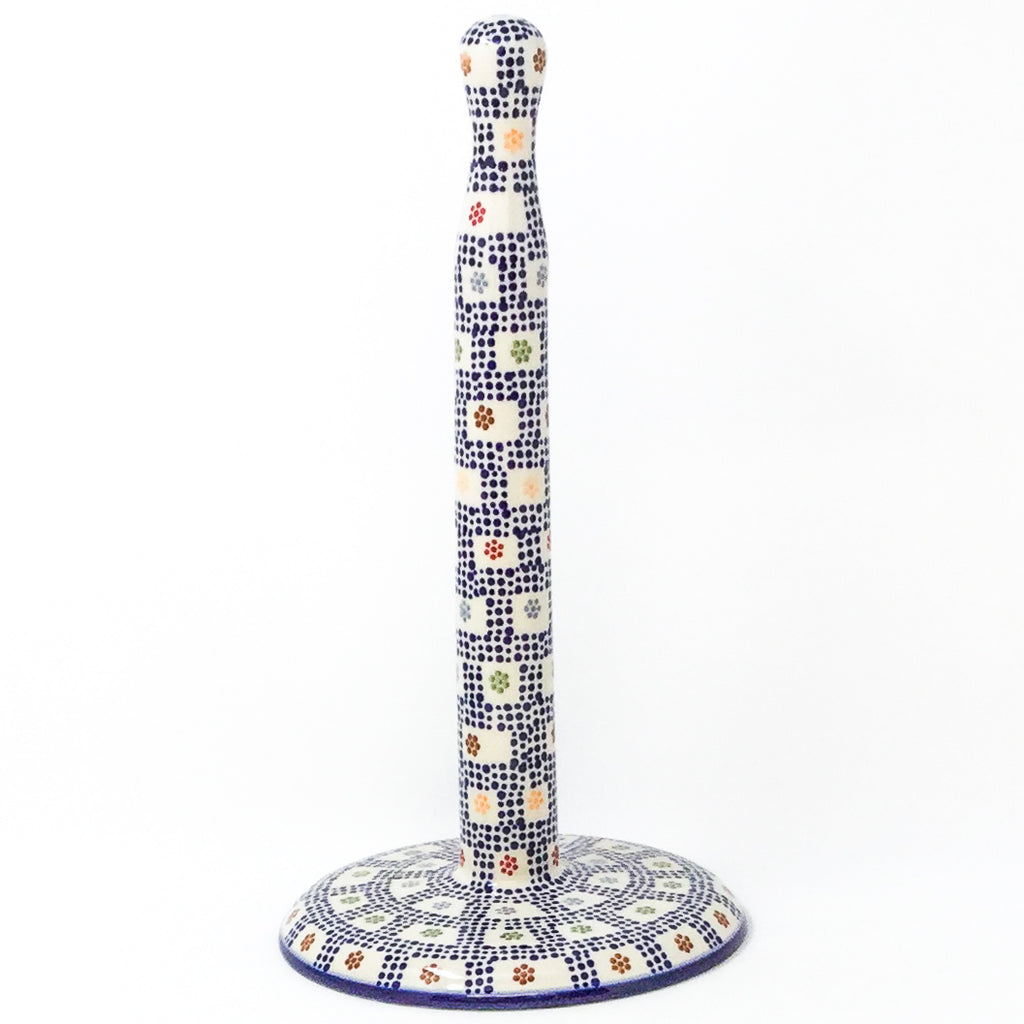 Polish Pottery Paper Towel Holder in Modern Checkers Modern Checkers