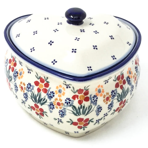 Polish Pottery Heart Covered Server 2 qt in Delicate Flowers Delicate Flowers
