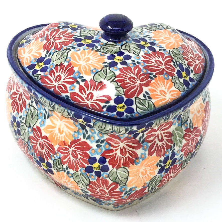 Polish Pottery Heart Covered Server 2 qt in Just Glorious Just Glorious