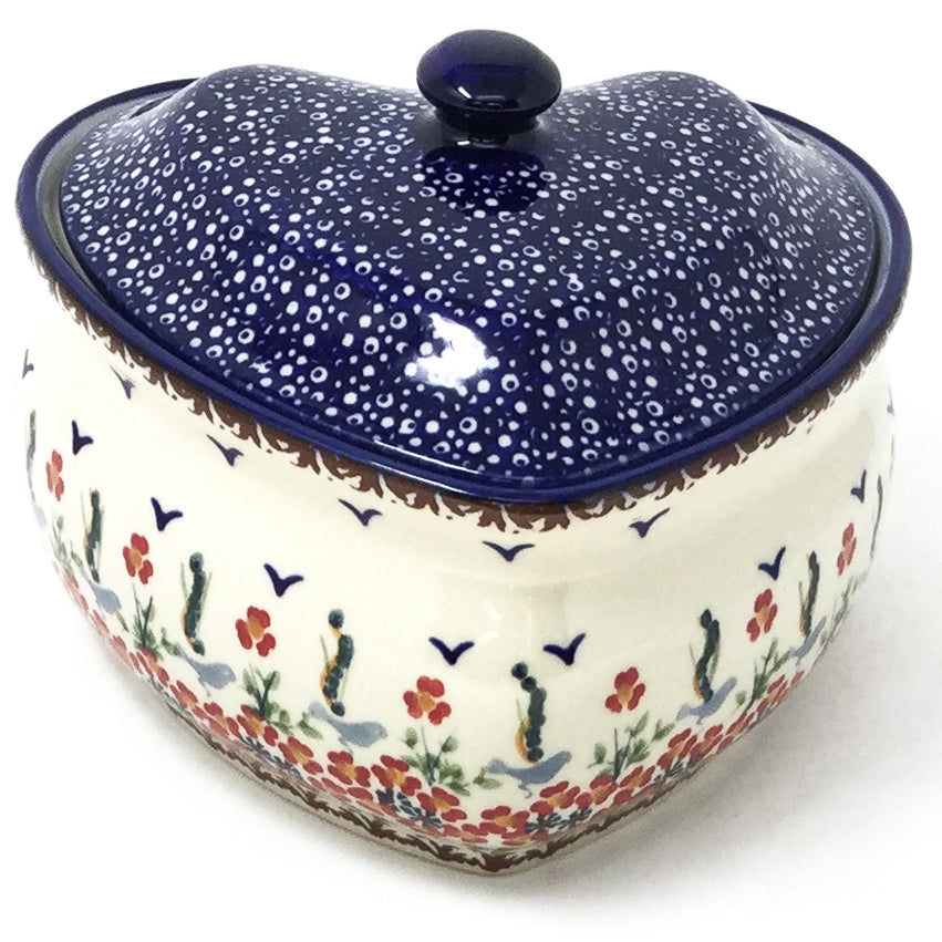 Polish Pottery Heart Covered Server 2 qt in Simply Beautiful Simply Beautiful