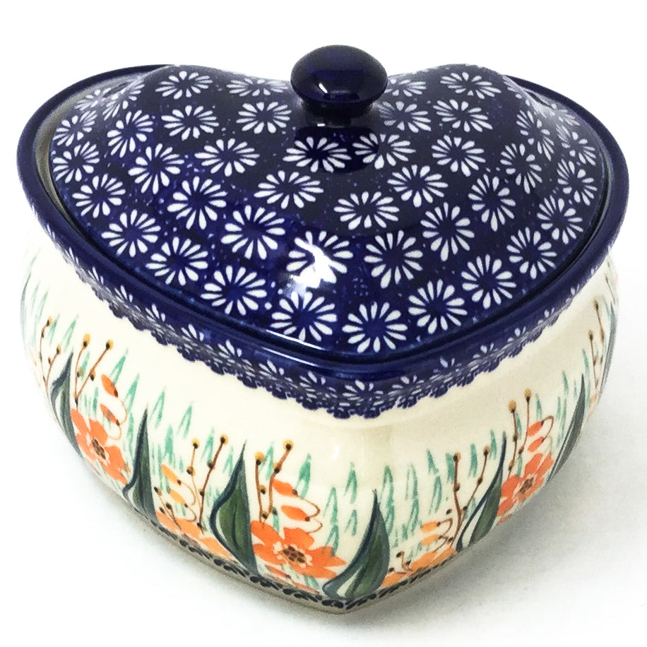 Polish Pottery Heart Covered Server 2 qt in Sunshine Meadow Sunshine Meadow