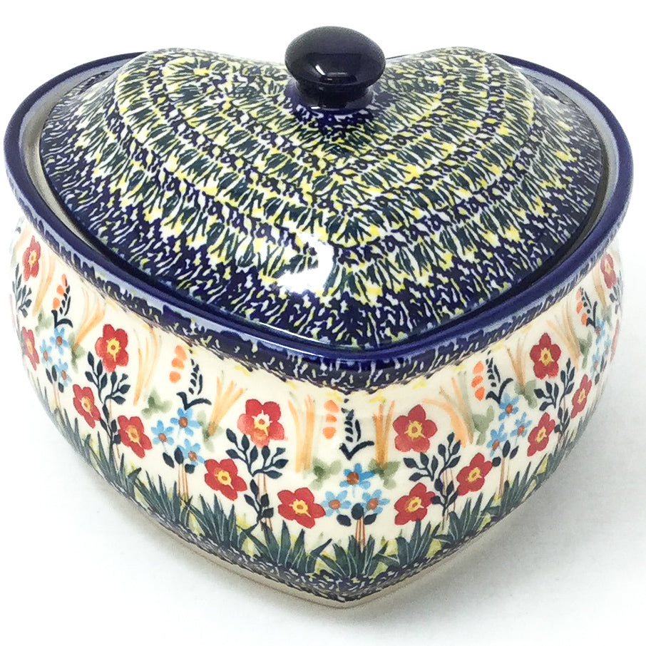 Polish Pottery Heart Covered Server 2 qt in Autumn Bouquet Autumn Bouquet